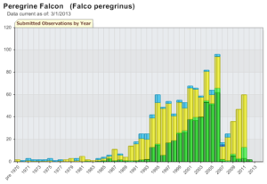 Annual Peregrine Falcon observations in Montana